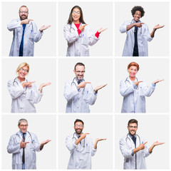 Collage of group of doctor people wearing stethoscope over isolated background amazed and smiling to the camera while presenting with hand and pointing with finger.