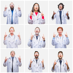 Collage of group of doctor people wearing stethoscope over isolated background amazed and surprised looking up and pointing with fingers and raised arms.