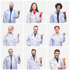 Collage of group of doctor people wearing stethoscope over isolated background smiling with happy face looking and pointing to the side with thumb up.