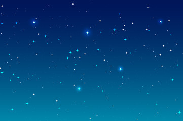 Sky night background and many stars. Blue deep space landscape