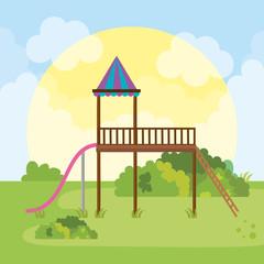 park landscape with game scene
