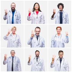 Collage of group of doctor people wearing stethoscope over isolated background showing and pointing up with fingers number three while smiling confident and happy.