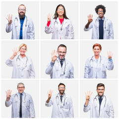Collage of group of doctor people wearing stethoscope over isolated background showing and pointing up with fingers number four while smiling confident and happy.