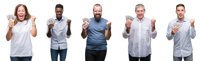 Collage of group of business people holding bunch of dollars cash over isolated background screaming proud and celebrating victory and success very excited, cheering emotion