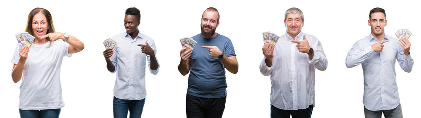 Collage of group of business people holding bunch of dollars cash over isolated background very happy pointing with hand and finger