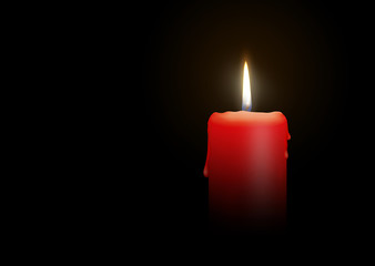 Red Candle Burning on Black Background - Isolated Realistic Candlelight Illustration