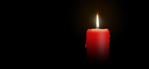 Red Candle Burning on Black Background - Isolated Realistic Candlelight Illustration