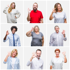 Collage of group of young, middle age and senior people over isolated background smiling positive doing ok sign with hand and fingers. Successful expression.