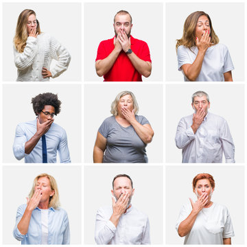 Collage of group of young, middle age and senior people over isolated background bored yawning tired covering mouth with hand. Restless and sleepiness.