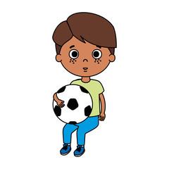cute little boy with soccer balloon