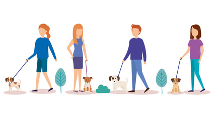 young people with dogs in the park