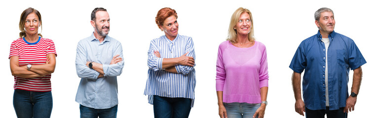 Collage of group of middle age and senior people over isolated background smiling looking side and staring away thinking.