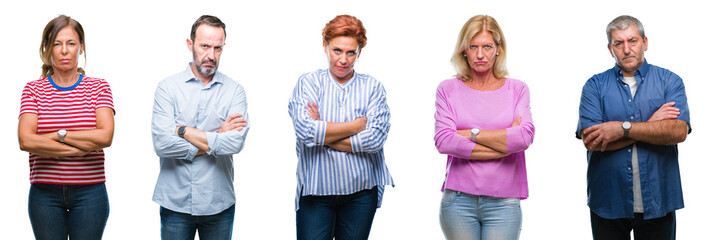 Collage of group of middle age and senior people over isolated background skeptic and nervous, disapproving expression on face with crossed arms. Negative person.