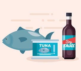 soy sauce bottle with tuna can