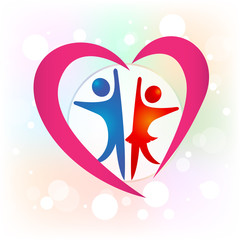Couple love people logo