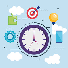 time clock with seo icons