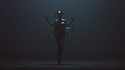 Sexy Multi-Armed Devil Woman in a foggy void 3d Illustration 3d render