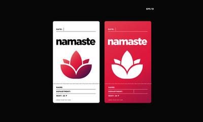 Namaste Yoga ID Card Design Lotus Icon with Gradient Design