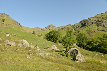 Langdale Pikes at head of Mickleden valley, Lake District