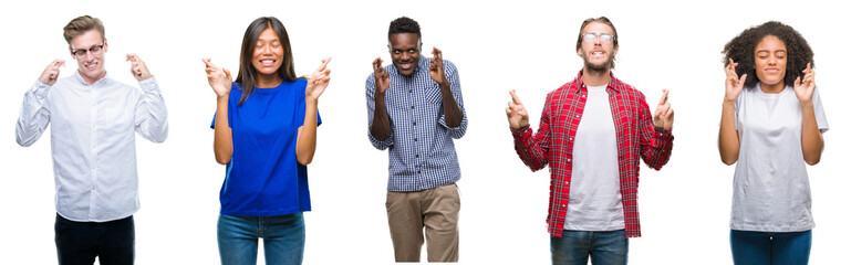 Collage of group of young asian, caucasian, african american people over isolated background smiling crossing fingers with hope and eyes closed. Luck and superstitious concept.