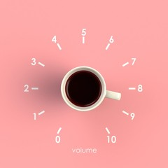 Top view of a cup of coffee in the form of volume control isolated on pink background, Coffee concept illustration, 3d rendering
