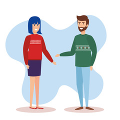 couple with december clothes