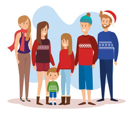 family parents with december clothes