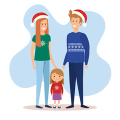 parents couple and daughter with december clothes