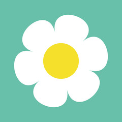 Daisy chamomile. Cute flower plant collection. White camomile icon. Love card. Growing concept. Flat design. Green background. Isolated.