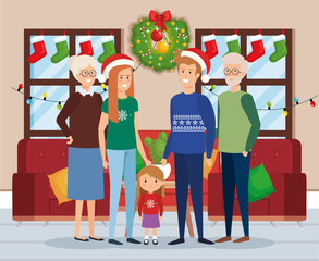 family members with december clothes in livingroom