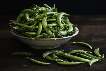Close up of raw green peas