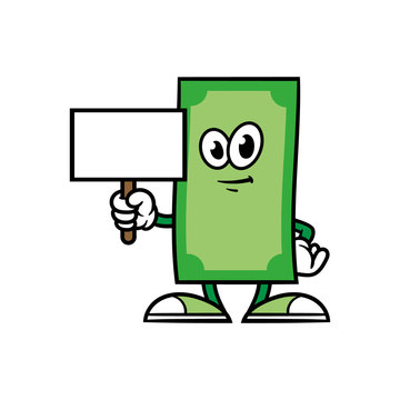Cartoon Money Character With Blank Sign