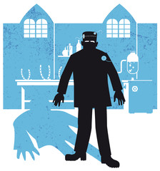 frankenstein and the laboratory, silhouette, vector illustration