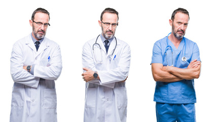 Collage of handsome senior hoary doctor man wearing surgeon uniform over isolated background skeptic and nervous, disapproving expression on face with crossed arms. Negative person.