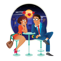 Speed dating romantic love event in cafe - young business woman and man couple on a date, talking, meeting, flirt and fall in love. Flat cartoon vector illustration isolated on white background