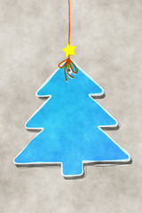 blue Christmas tree tag water color