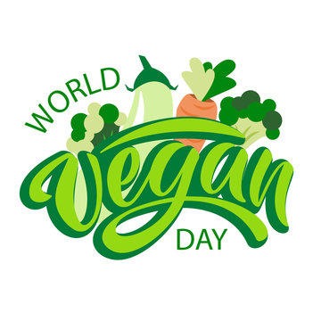 World vegan day typography lettering