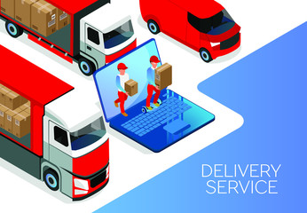 Illustration of online order for delivery of goods from the laptop. Transportation by drone, truck or car. Coordination of delivering over the Internet. isometric 3d