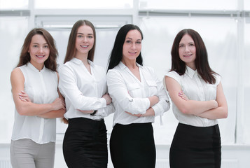 in full growth.portrait of successful business team standing in office