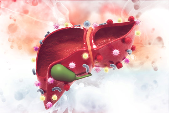 Virus and bacteria infected human liver on scientific background