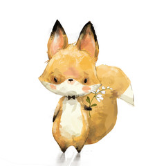 Little fox with flower
