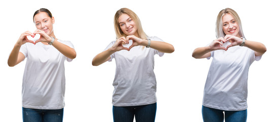 Collage of group of young women wearing white t-shirt over isolated background smiling in love showing heart symbol and shape with hands. Romantic concept.