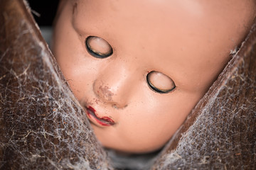 Old plastic doll with it's eyes closed, peering through a gap in a wood panel. panel has cobwebs.