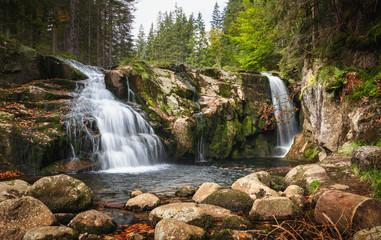 Maly Labsky waterfall cascade in Krkonose National Park, Czech republic mountains