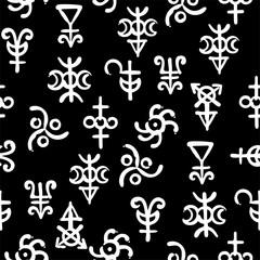 Spiritual texture, seamless background pattern with occult alchemical runes and symbols.