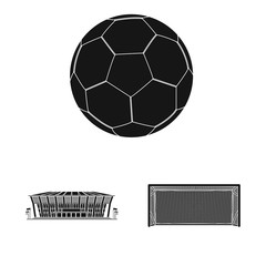 Vector design of soccer and gear sign. Set of soccer and tournament stock symbol for web.