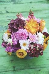 Grußkarte -  Blumenstrauß mit Dahlien - Herbststrauß