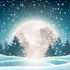 Winter snowy landscape with big shinny moon