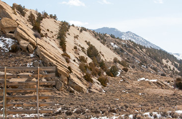 Slab rock formation outside of Casper Wyoming United States