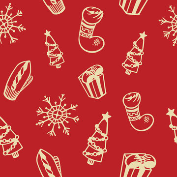 New year and merry christmas seamless pattern. Snowflakes, gifts, spruce, mitten, sock. Winter vector illustration. Festive, holiday background.
